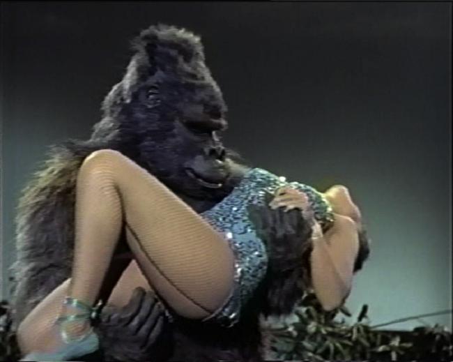 Картинки ретро женщина с гориллой, текстом